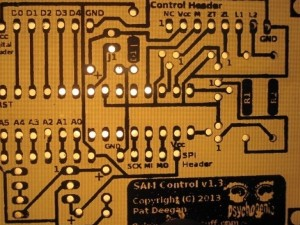 Final PCB, drilled and back-lit