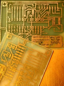 PCBs etched with the DIY etchant, toner mask removed.