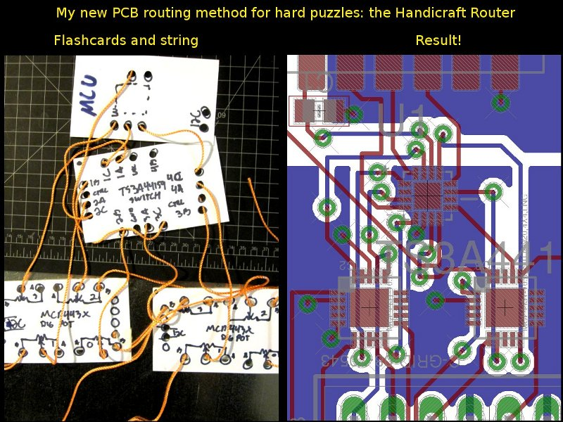 Handicraft routing and resulting PCB layout